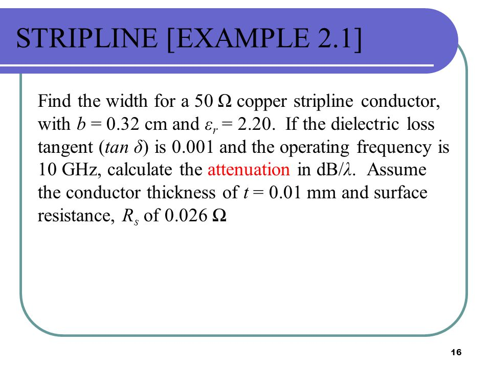 STRIPLINE [EXAMPLE 2.1]